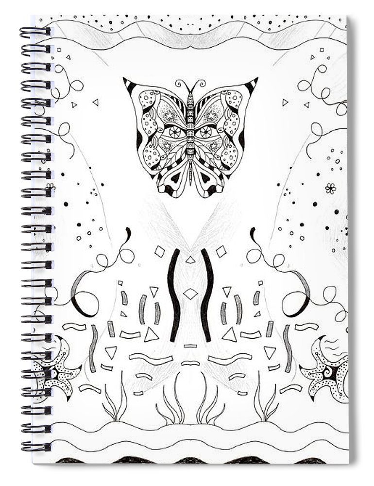 Endless Flow 3 By Helena Tiainen Spiral Notebook featuring the drawing Endless Flow 3 by Helena Tiainen