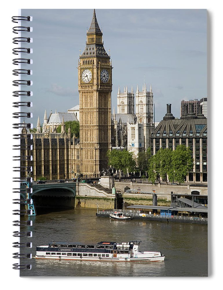 England Spiral Notebook featuring the photograph England, London, Big Ben And Thames by Jerry Driendl