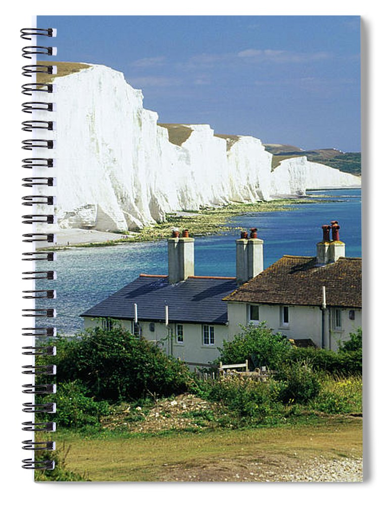 Scenics Spiral Notebook featuring the photograph England, Sussex, Seven Sisters Cliffs by David C Tomlinson