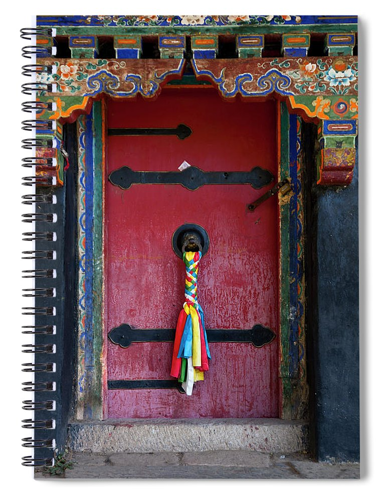 Chinese Culture Spiral Notebook featuring the photograph Entrance To The Tibetan Monastery by Hanhanpeggy