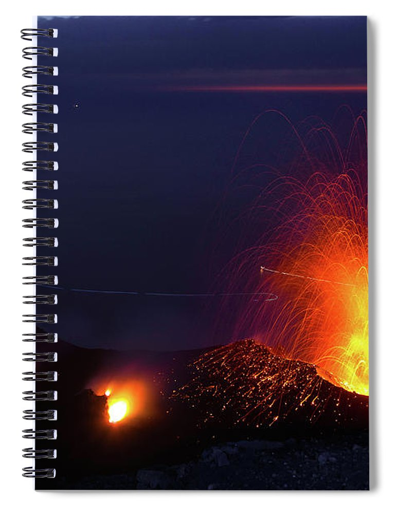 Non-urban Scene Spiral Notebook featuring the photograph Eruption Of Stromboli Volcano, Italy by Francesco Sartori