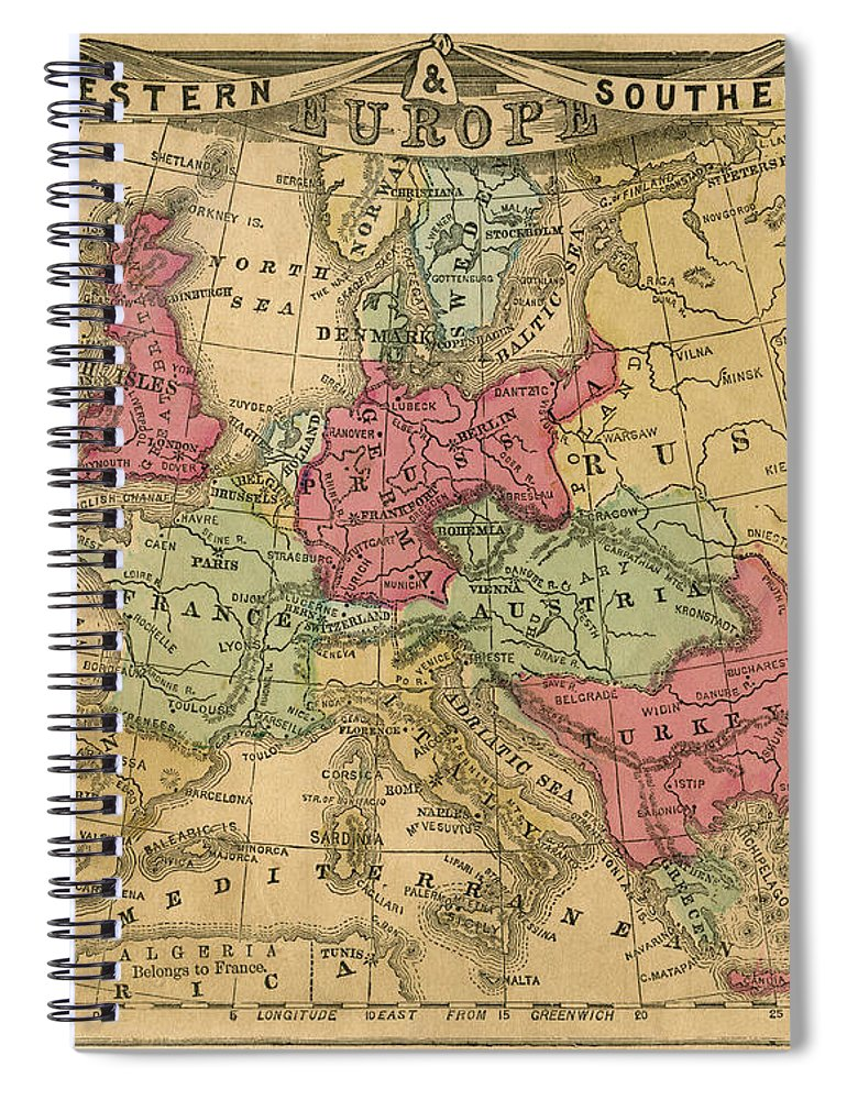 Greek Culture Spiral Notebook featuring the photograph Europe Map by Belterz
