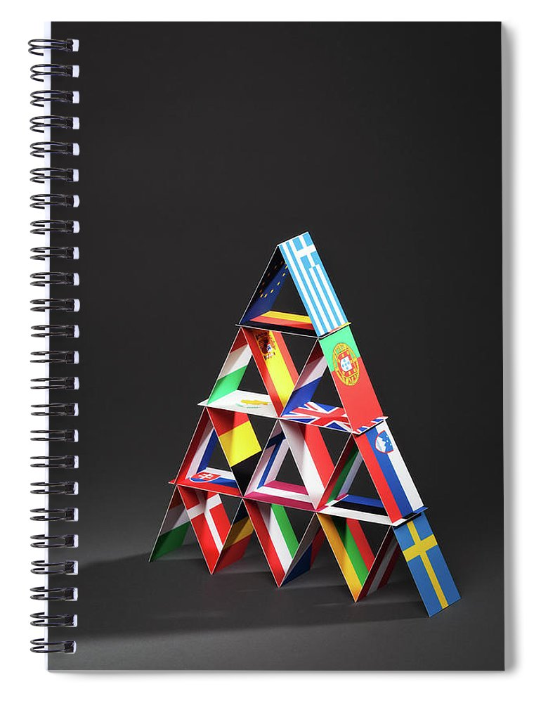 Debt Spiral Notebook featuring the photograph European Debt Crisis House Of Cards Vt by Yinyang