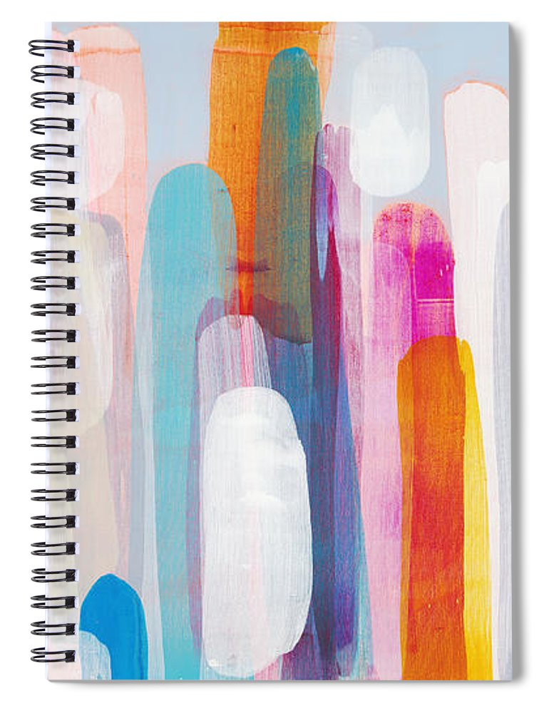 Abstract Spiral Notebook featuring the painting Everyone's Invited by Claire Desjardins