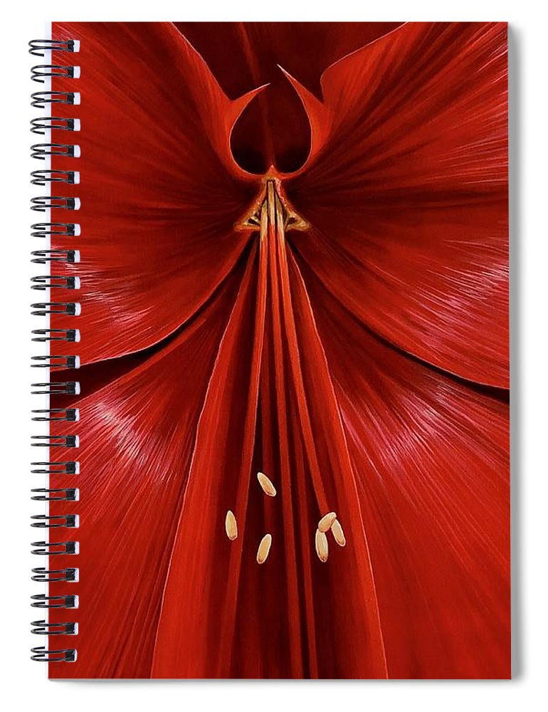 Amaryllis Spiral Notebook featuring the painting Exotica by Hunter Jay