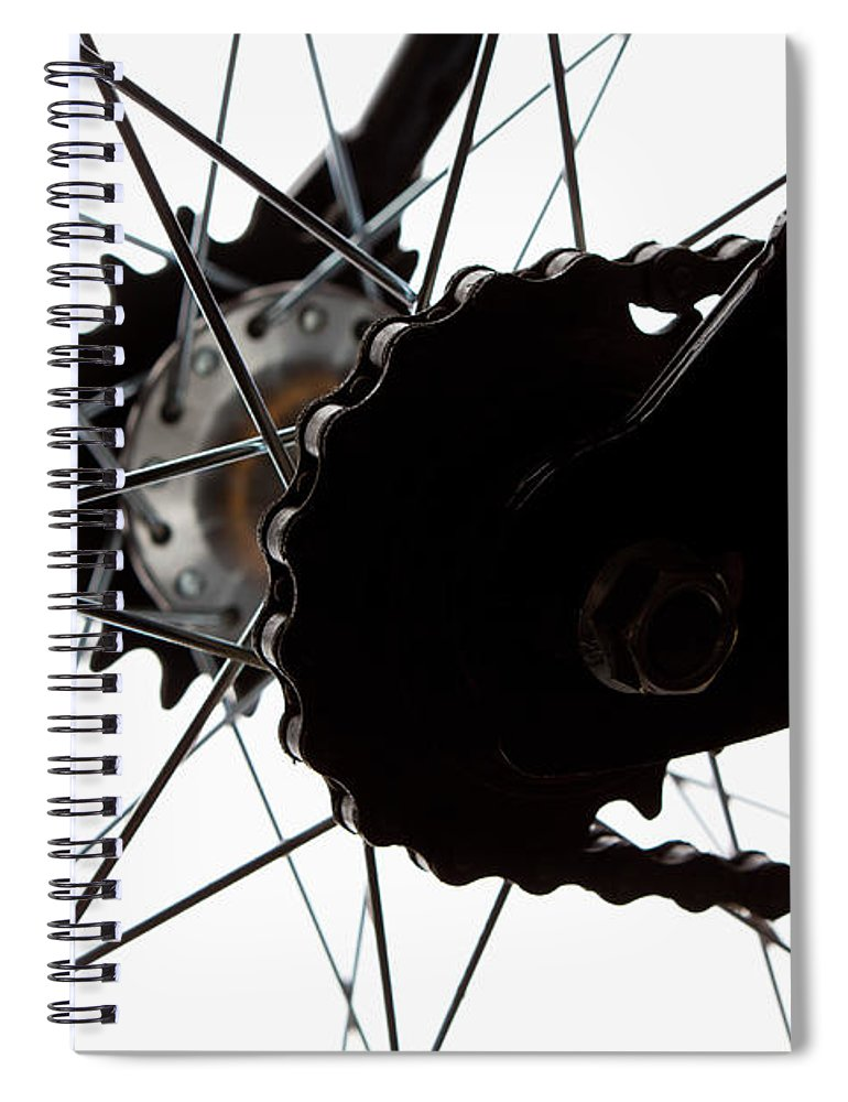 White Background Spiral Notebook featuring the photograph Extreme Close Up Of Chain And Spokes by Epoxydude