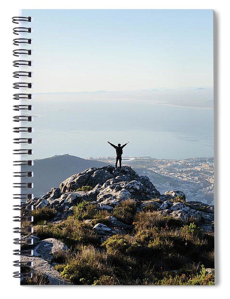 Scenics Spiral Notebook featuring the photograph Exuberant Man On Top Of Table Mountain by David Malan