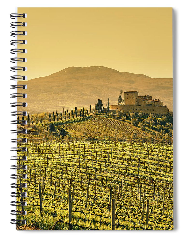 Scenics Spiral Notebook featuring the photograph Farm Tuscany Vineyard by Deimagine