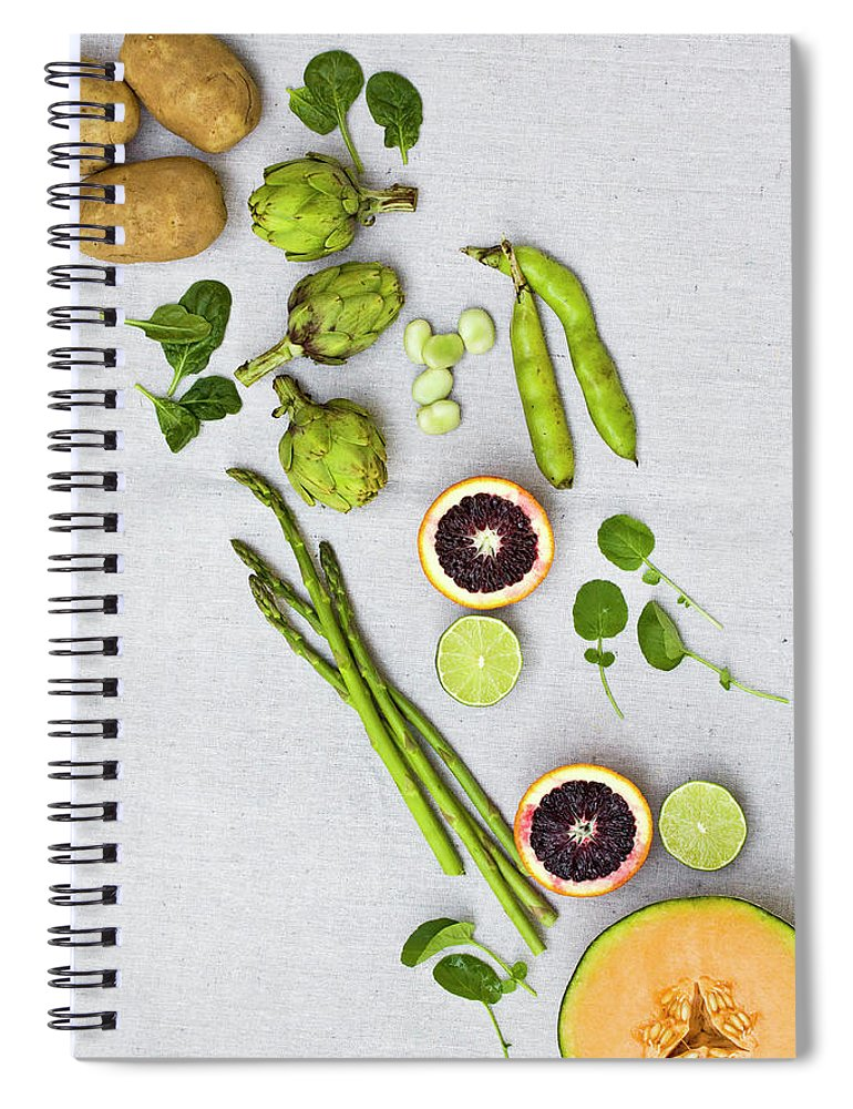 White Background Spiral Notebook featuring the photograph Farmers Market - Vegetables On Linen by Kelly Sterling Photography
