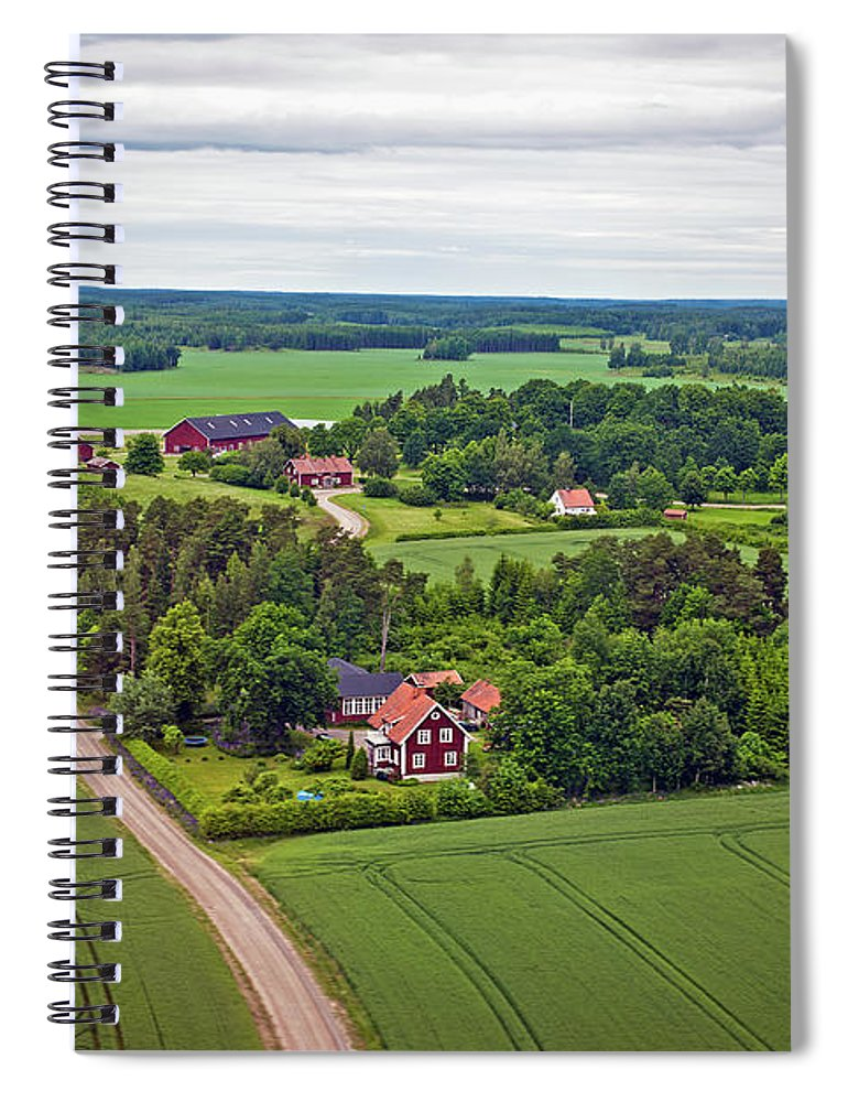 Scenics Spiral Notebook featuring the photograph Farms And Fields In Sweden North Europe by Pavliha