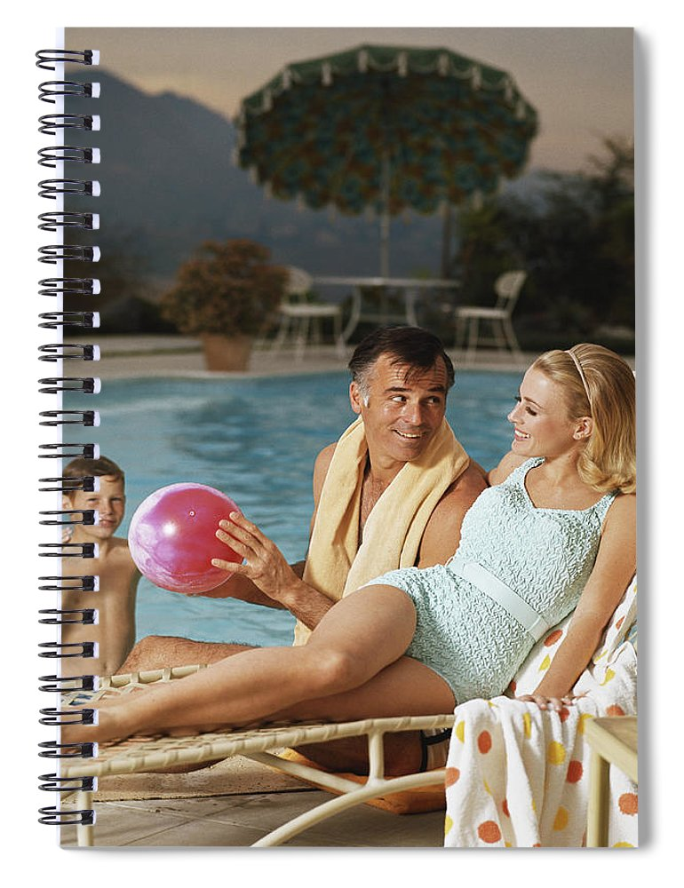 Mid Adult Women Spiral Notebook featuring the photograph Father And Son Playing With Beach Ball by Tom Kelley Archive