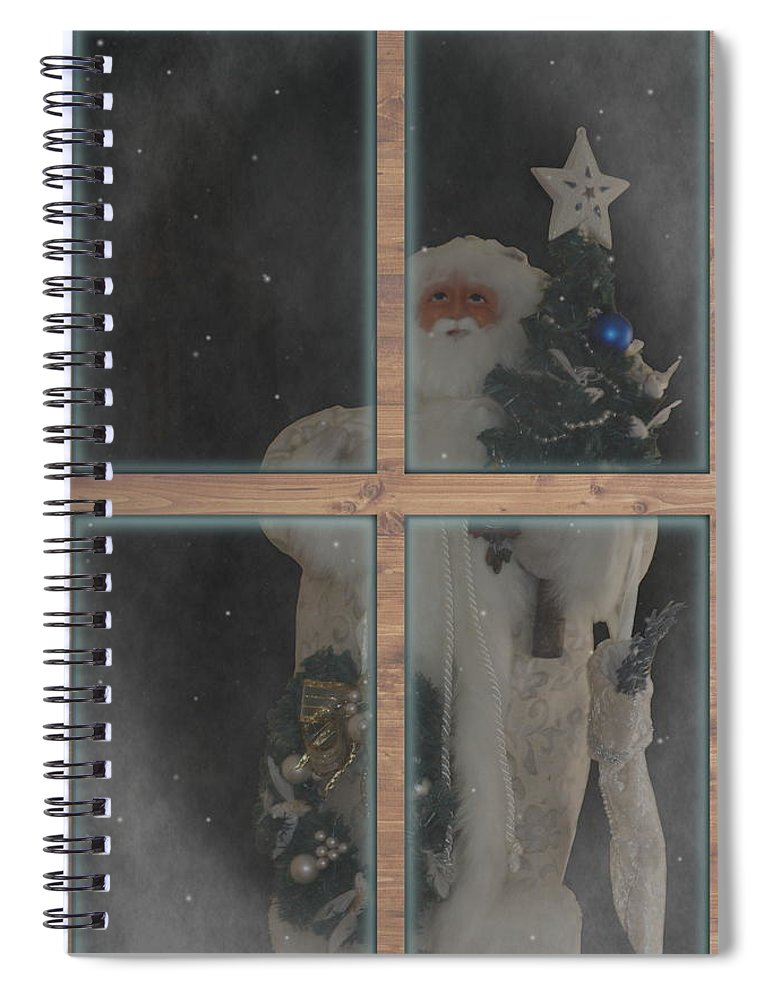 Father Christmas Spiral Notebook featuring the photograph Father Christmas in Window by Colleen Cornelius