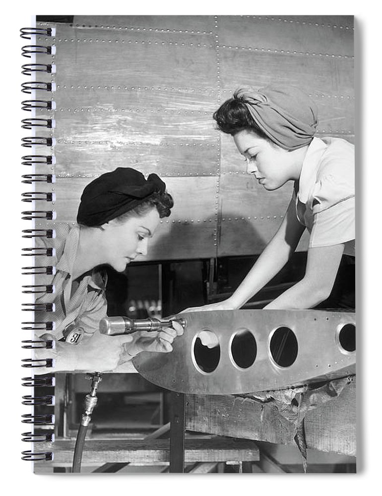 Working Spiral Notebook featuring the photograph Female Workers Working On Plane by George Marks