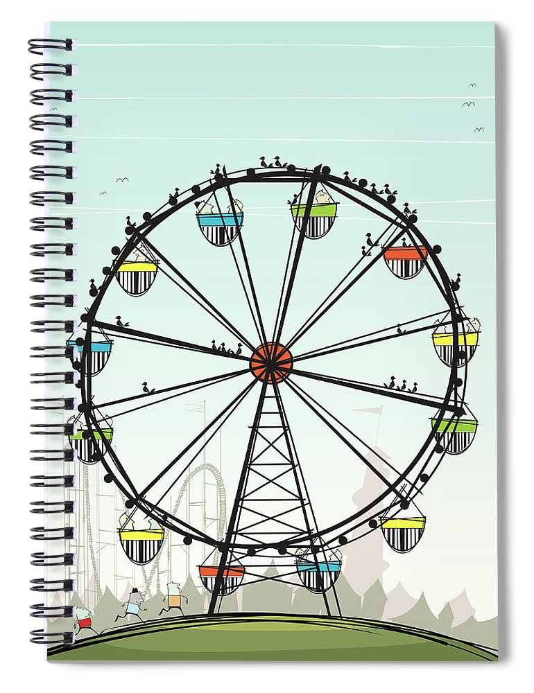 Grass Spiral Notebook featuring the digital art Ferris Wheel by Jcgwakefield