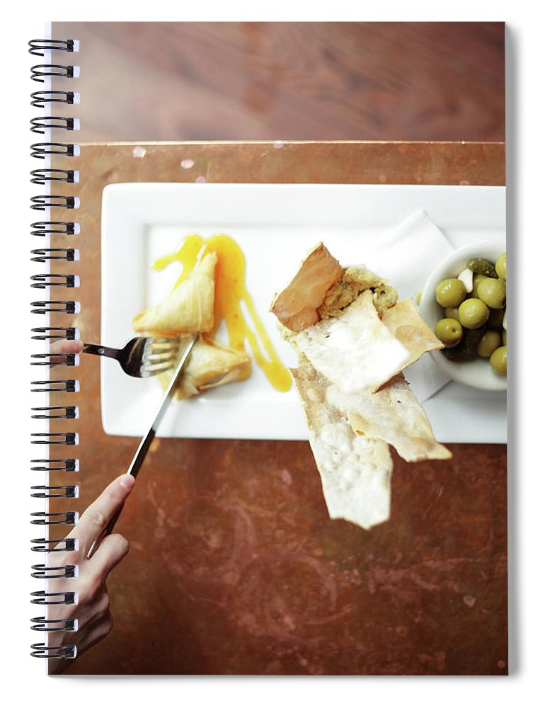 Feta Cheese Spiral Notebook featuring the photograph Feta Crisps by Caleb Condit