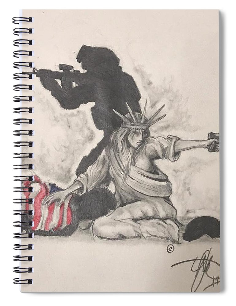 Liberty Spiral Notebook featuring the drawing Fighting For Liberty by Howard King
