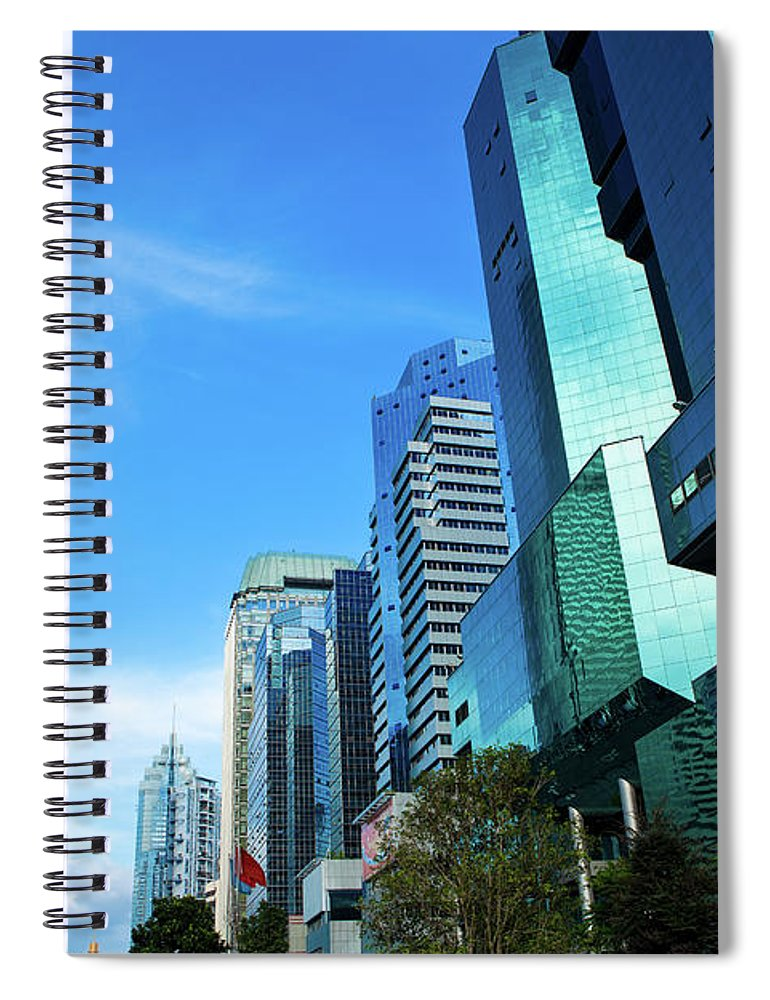 Chinese Culture Spiral Notebook featuring the photograph Financial District In Shenzhen, China by Kanmu