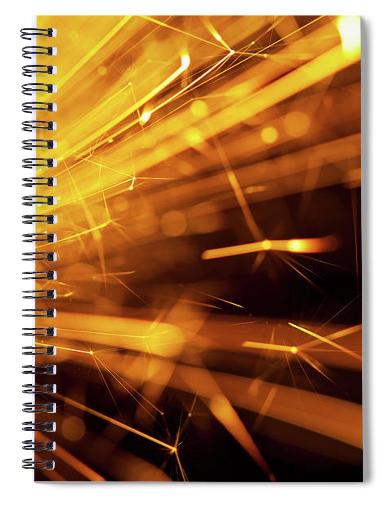 Funky Spiral Notebook featuring the photograph Fire Sparkler by Nikada