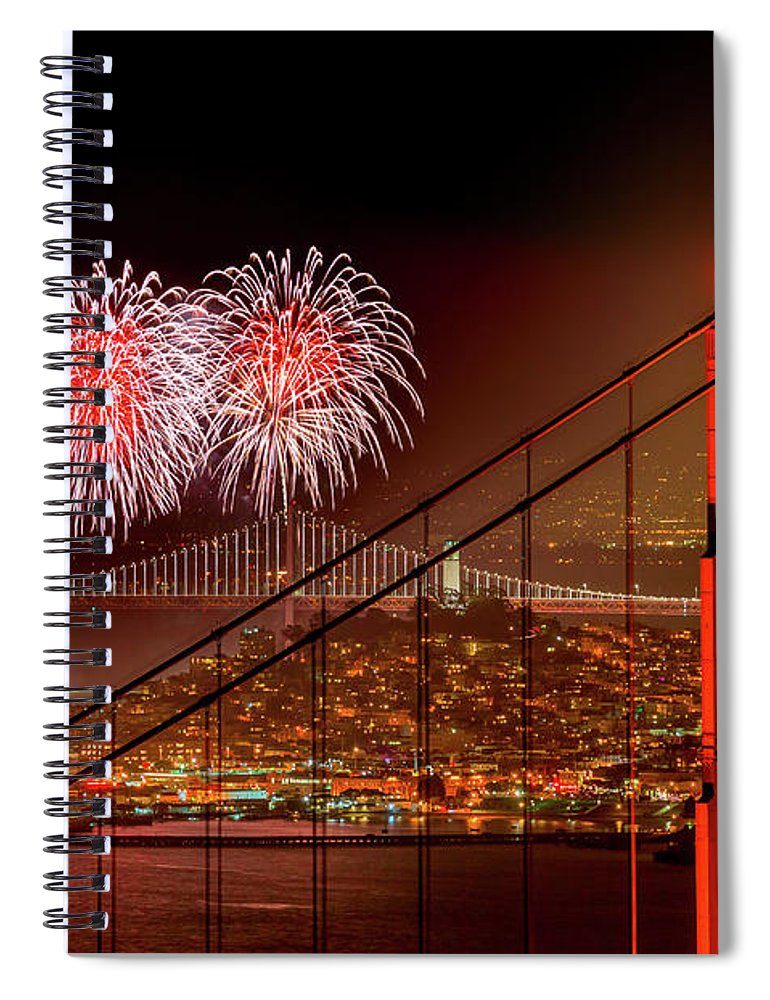 San Francisco Spiral Notebook featuring the photograph Firework At San Francisco, California by Spondylolithesis