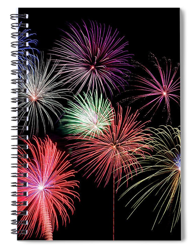 Firework Display Spiral Notebook featuring the photograph Fireworks by Michael Parrish Photography
