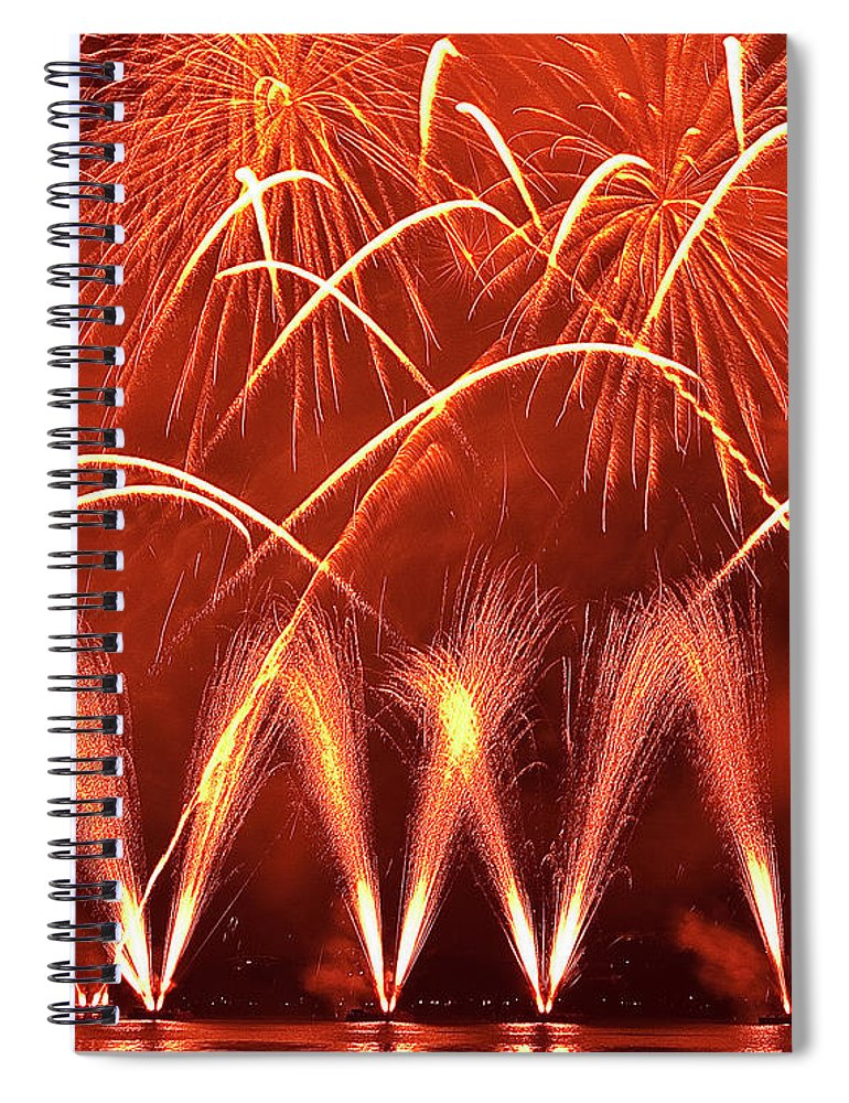 Firework Display Spiral Notebook featuring the photograph Fireworks Over West Lake, Hangzhou by William Yu Photography