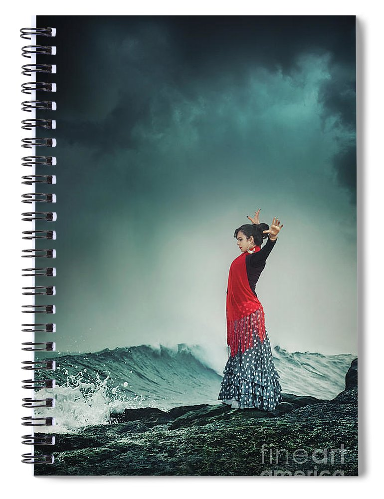 Kremsdorf Spiral Notebook featuring the photograph Flamenco Infusion by Evelina Kremsdorf