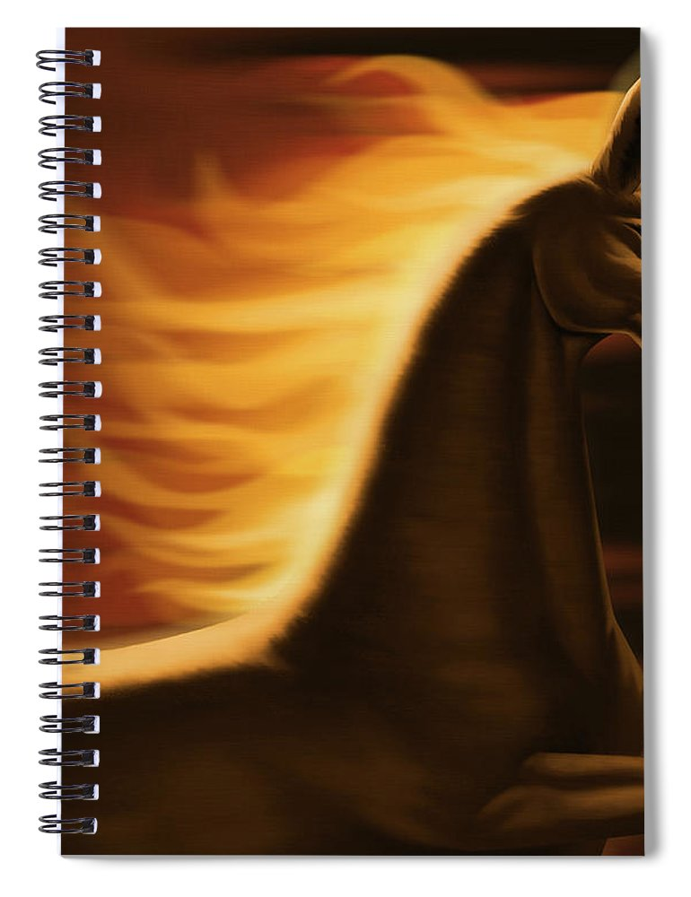 Horse Spiral Notebook featuring the digital art Flaming Horse by Id-work