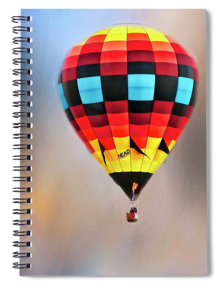 Fine Art Photography Spiral Notebook featuring the photograph Flight of Fantasy, Hot Air Balloon by Zayne Diamond Photographic