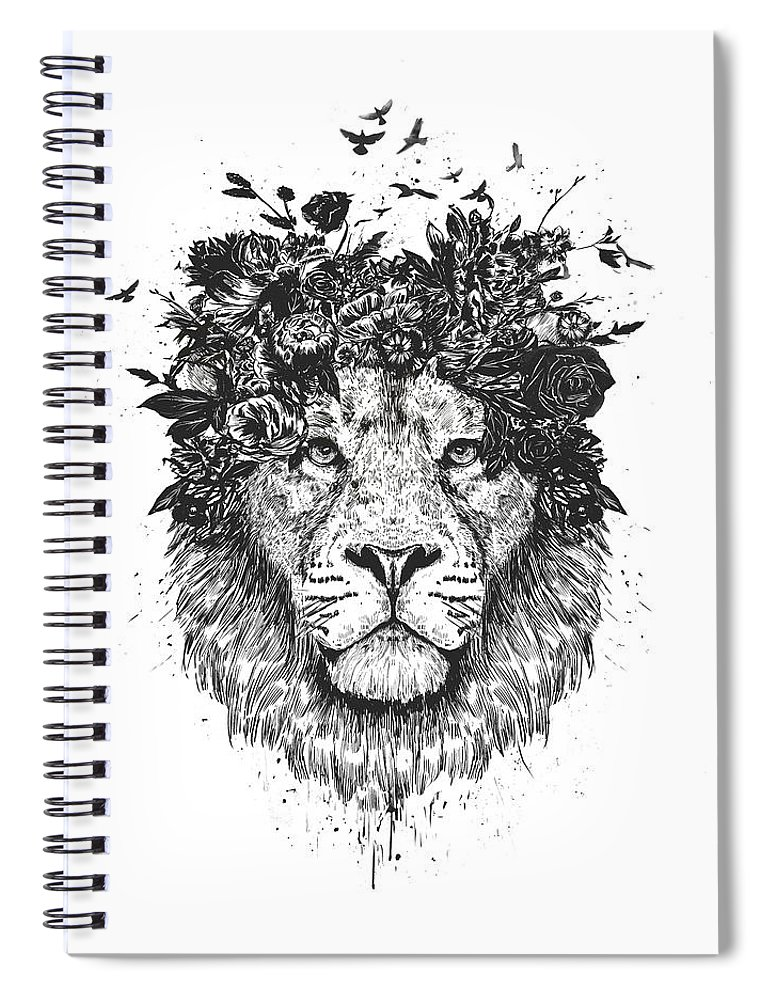 Lion Spiral Notebook featuring the drawing Floral lion by Balazs Solti