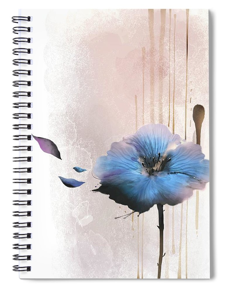 White Background Spiral Notebook featuring the digital art Flower On White Background by Ivary