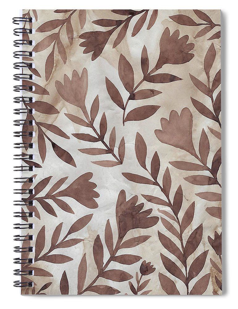 Brown Spiral Notebook featuring the painting Flowing Flowers by Elaine Jackson