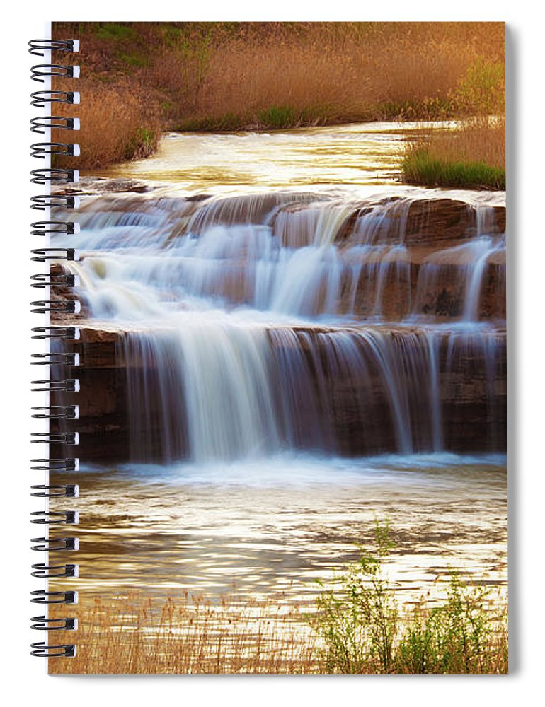 Scenics Spiral Notebook featuring the photograph Flowing Water On The Yellow Rock by Xenotar