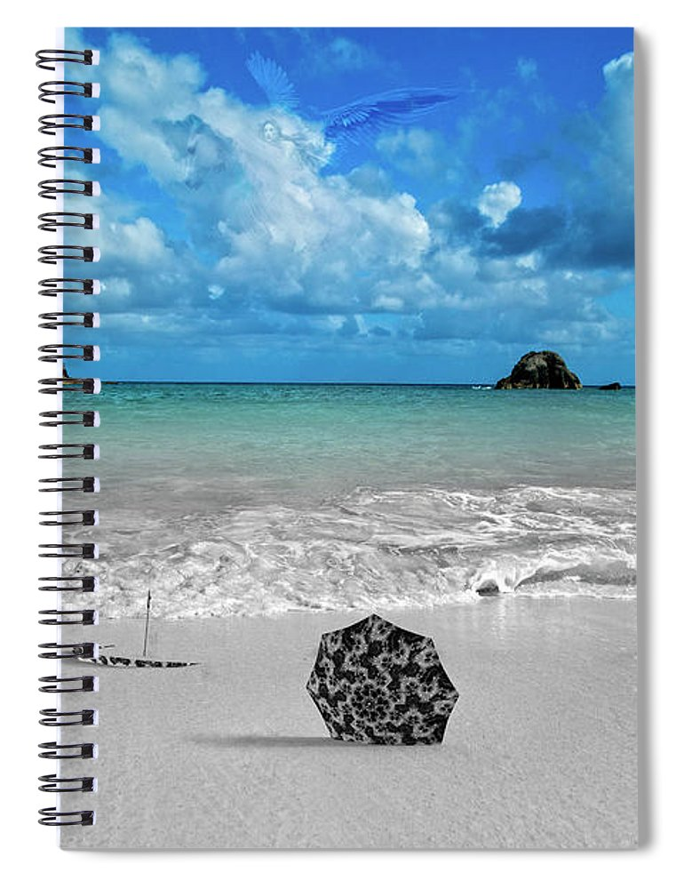 Valkyrie Spiral Notebook featuring the digital art Fly by Betsy Knapp