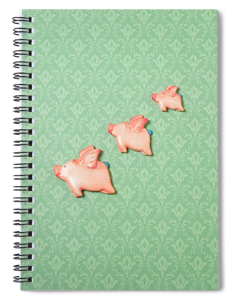 Disbelief Spiral Notebook featuring the photograph Flying Pig Ornaments On Wallpapered by Peter Dazeley