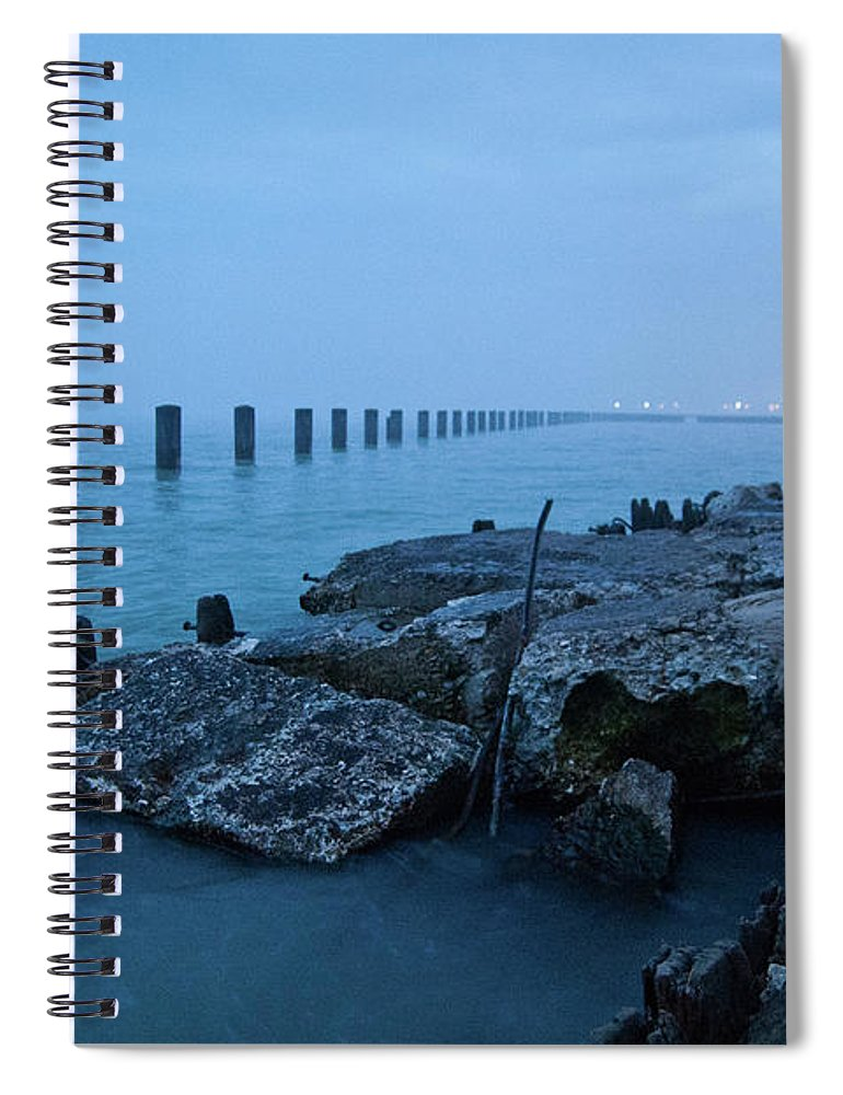 Lake Michigan Spiral Notebook featuring the photograph Foggy View Of Chicago From Lakeshore by Megan Ahrens