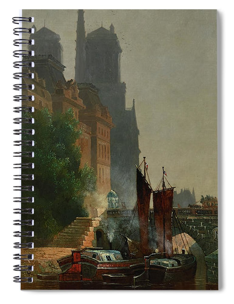 Edwin Deakin Spiral Notebook featuring the painting For Notre Dame, Foggy Morning by Edwin Deakin
