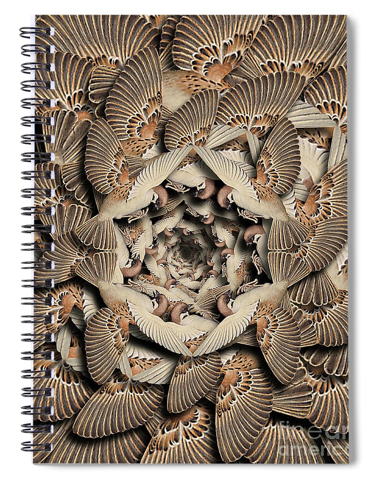 Bird Spiral Notebook featuring the digital art Forms of Nature #16 by Kenneth Rougeau