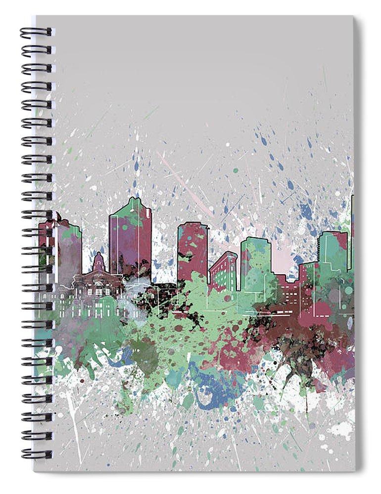 Fort Worth Spiral Notebook featuring the digital art Fort Worth Skyline Artistic Pastel by Bekim M