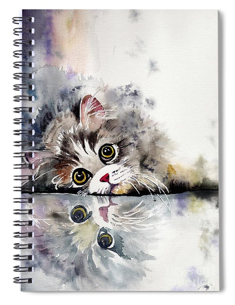Little Spiral Notebook featuring the painting Forty Winks by Suzann Sines