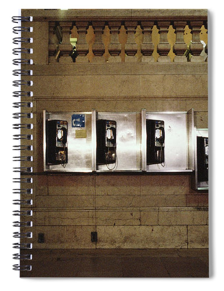 Pay Phone Spiral Notebook featuring the photograph Four Telephone Booths On Marble Wall by Herb Schmitz