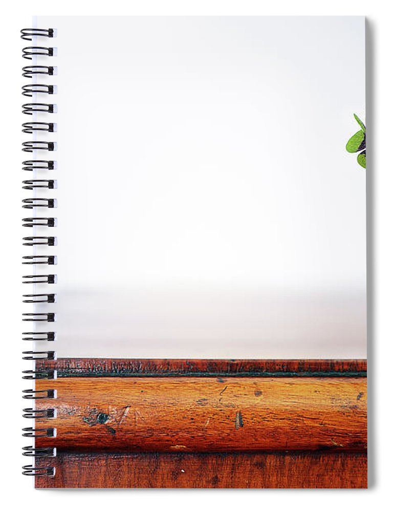 Vase Spiral Notebook featuring the photograph Fourleaf Cloverin Vase On Dresser by Elisabeth Schmitt