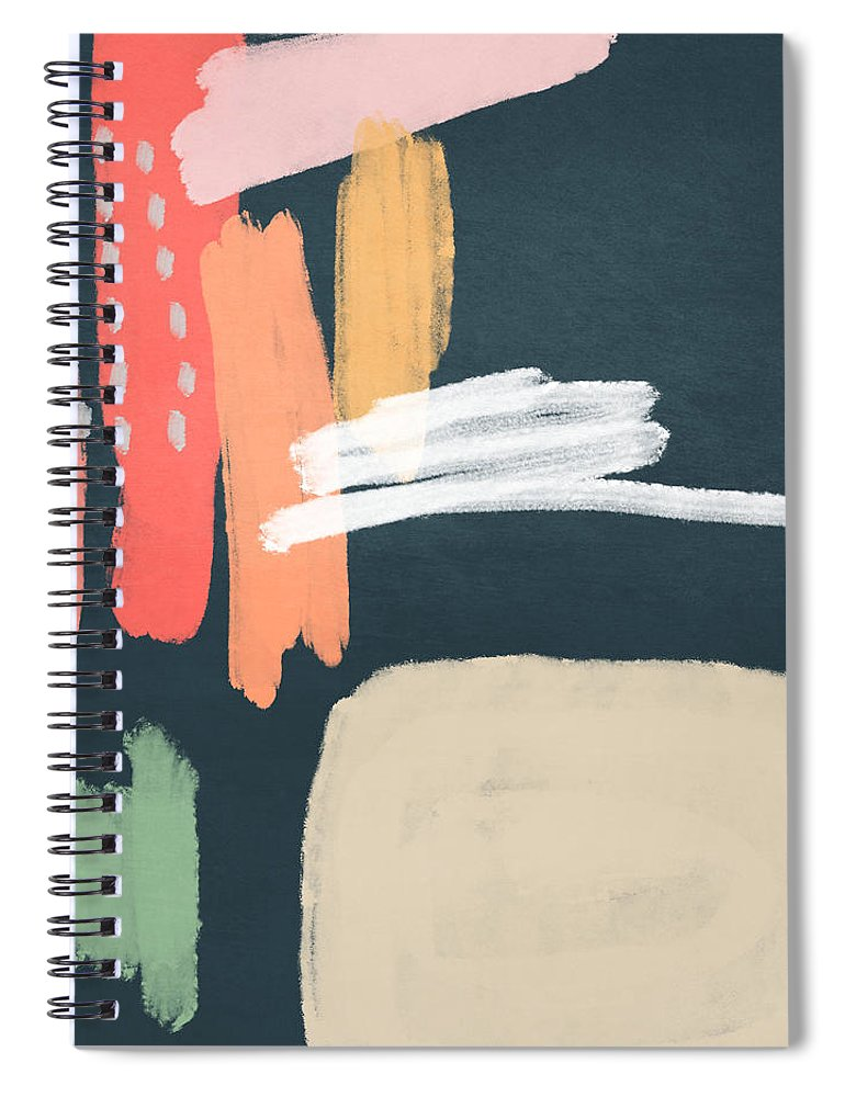 Modern Spiral Notebook featuring the mixed media Fragments 2- Art by Linda Woods by Linda Woods