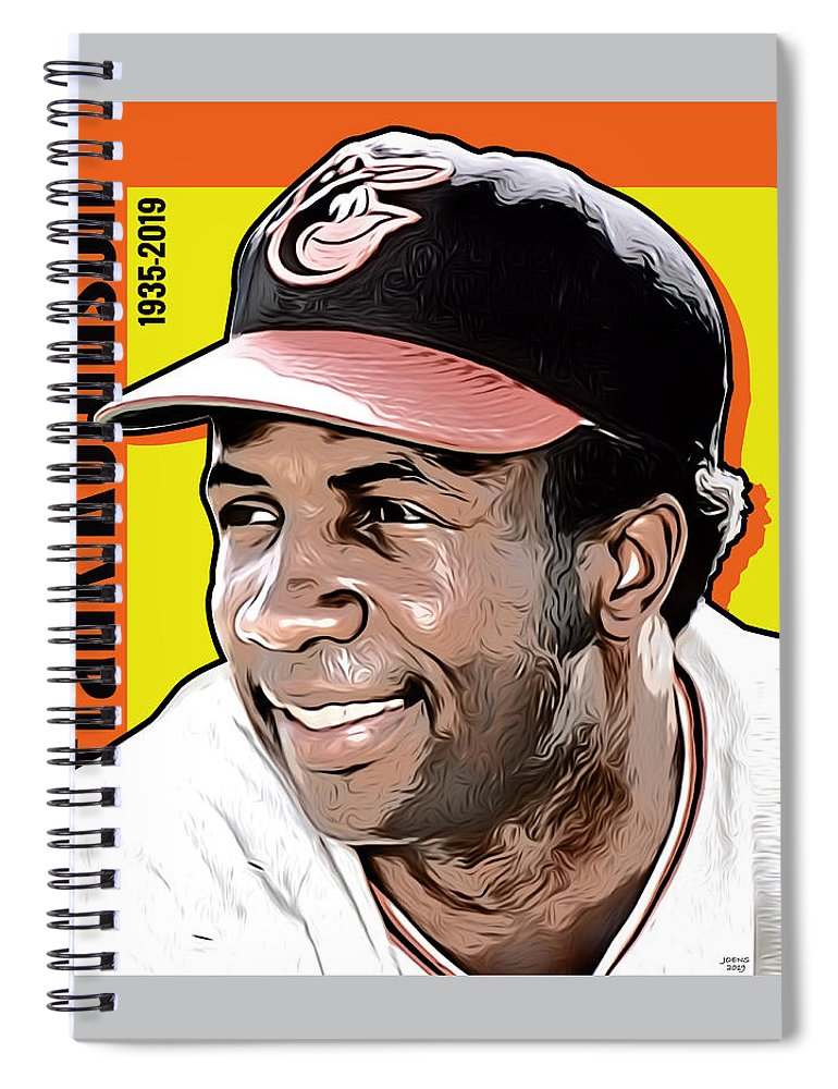 Frank Robinson Spiral Notebook featuring the digital art Frank Robinson Tribute by Greg Joens