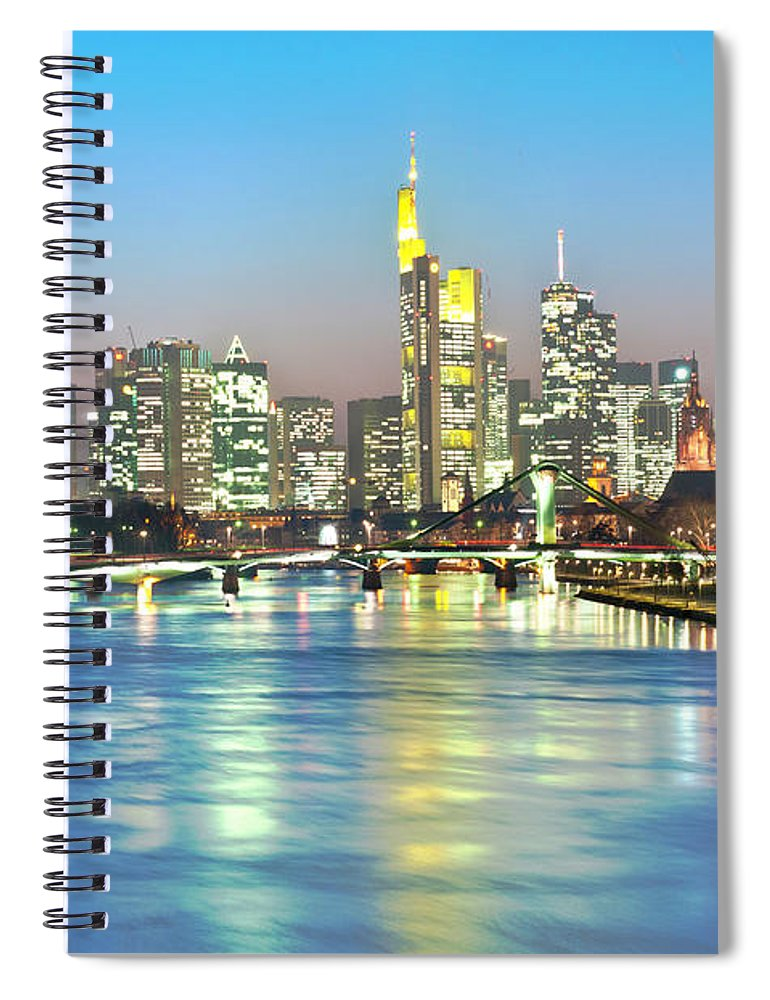 Hesse Spiral Notebook featuring the photograph Frankfurt Night Skyline by Ixefra