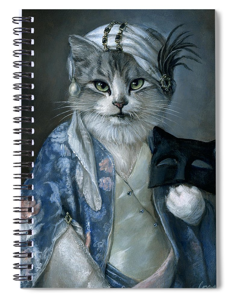 Cat Spiral Notebook featuring the painting Frannie by Melinda Copper
