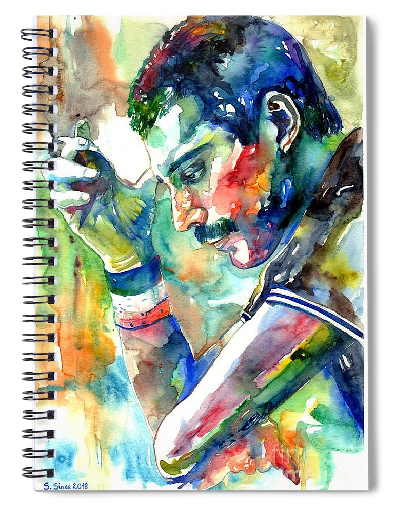 Freddie Mercury Spiral Notebook featuring the painting Freddie Mercury With Cigarette by Suzann Sines