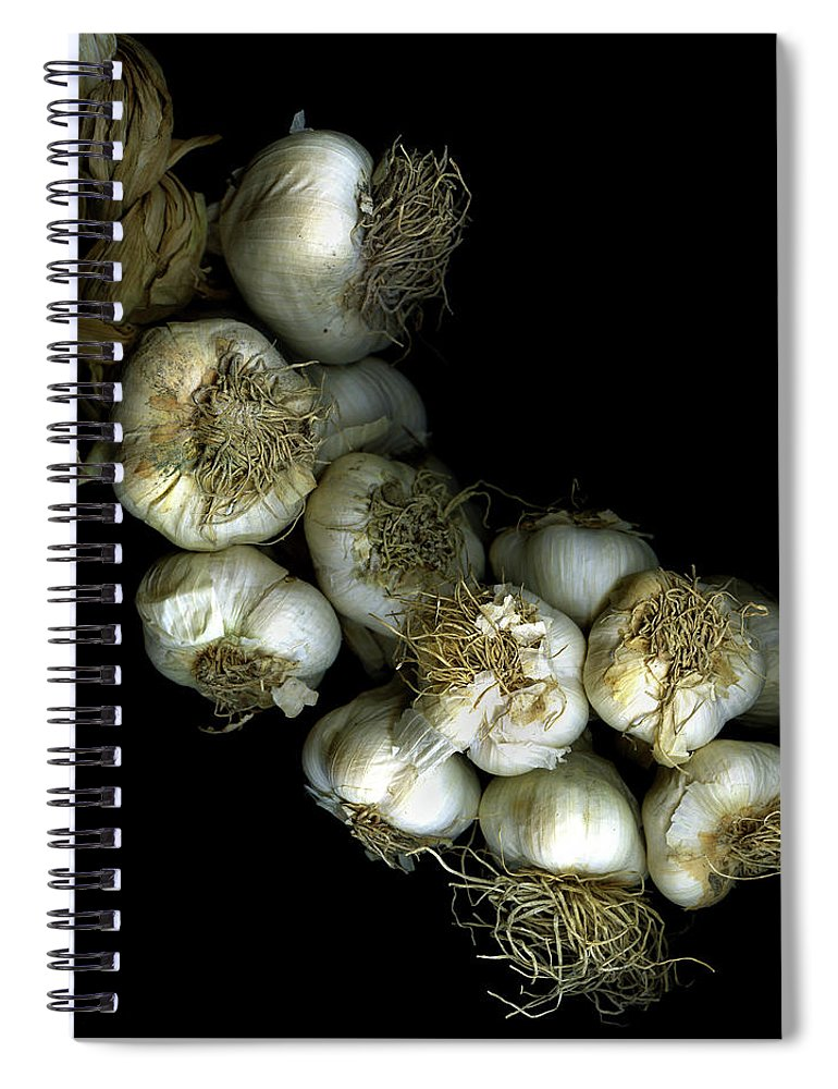 Black Background Spiral Notebook featuring the photograph French Garlic by Photograph By Magda Indigo
