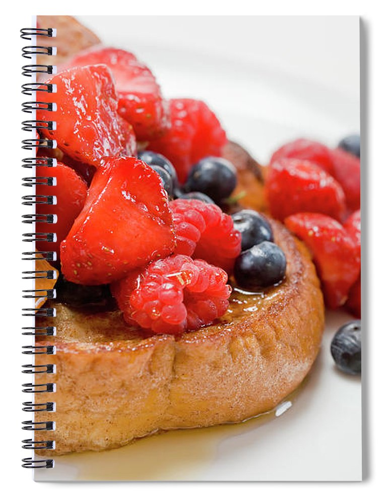 Breakfast Spiral Notebook featuring the photograph French Toast With Berries And Maple by Inti St. Clair