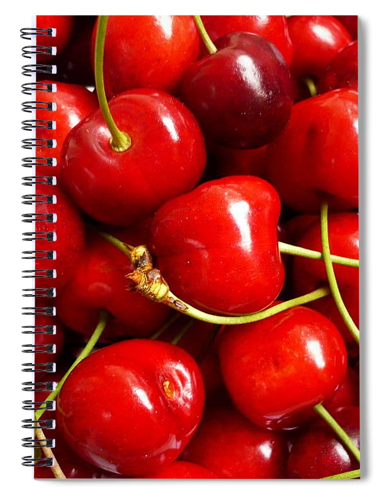 Cherry Spiral Notebook featuring the photograph Fresh Red Cherries by Vienna Mornings