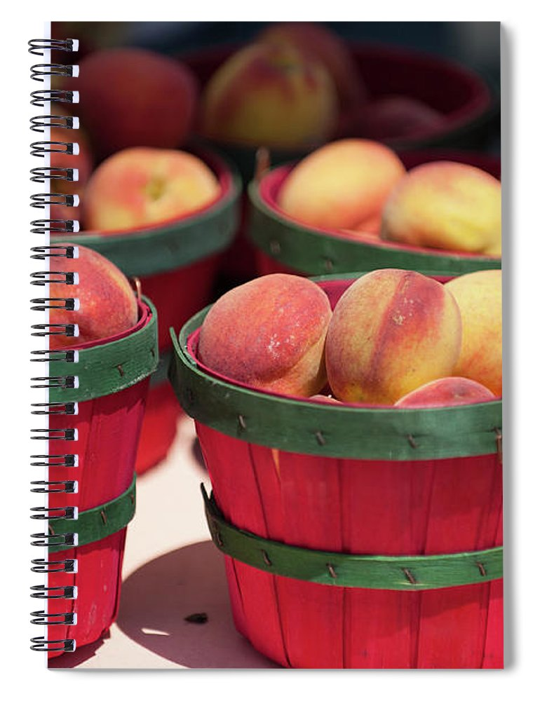 Retail Spiral Notebook featuring the photograph Fresh Texas Peaches In Colorful Baskets by Txphotoblog - Randy Ennis